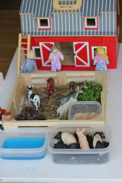 Farm play with natural elements. I know I've pinned something similar recently, but I just love this idea. I've always just given my kids flour, or sand, or dried beans for their animal figures to play in...I never thought of combining several different mediums together.