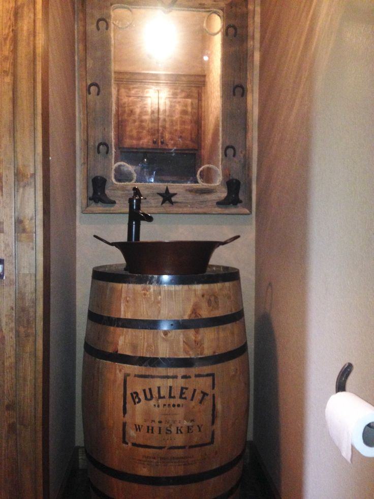 Rustic Powder Bathroom With Whiskey Barrel Vanity Future