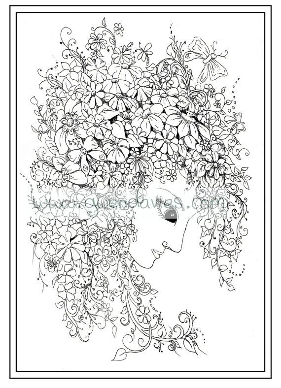 Zen Coloring Pages Pdf : Adult colouring in pdf download green lady calming