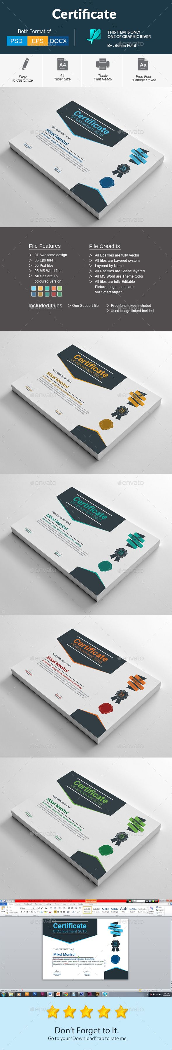 #Certificate - Certificates #Stationery Download here: https://graphicriver.net/item/certificate/18627136?ref=alena994