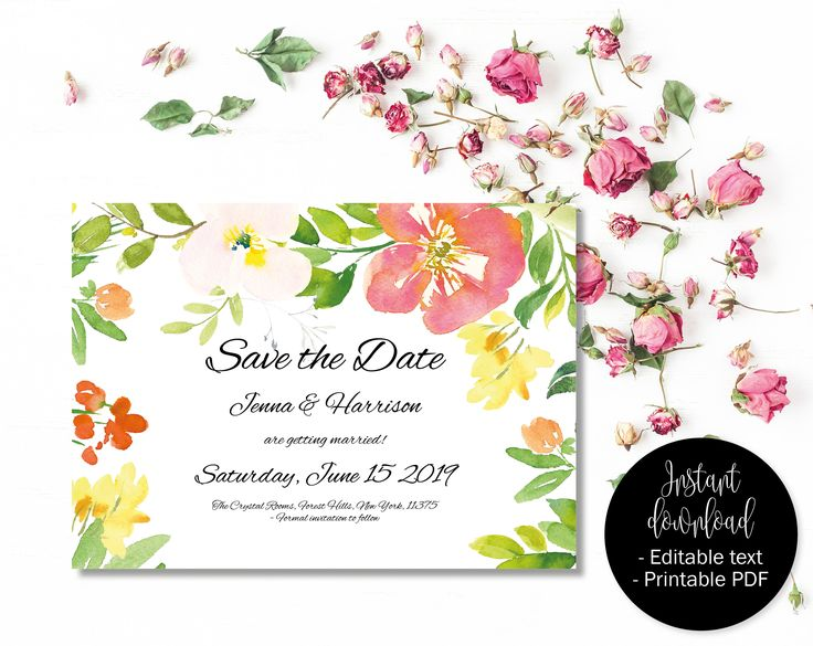 12 best Wedding Save the Date templates to instantly download and - Save The Date Wedding Templates
