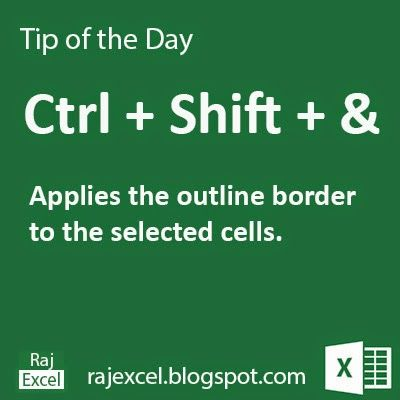 Learn Microsoft Excel: Tips of the Day : Using Ctrl + Shift + & (Shortcut Key) Microsoft Excel