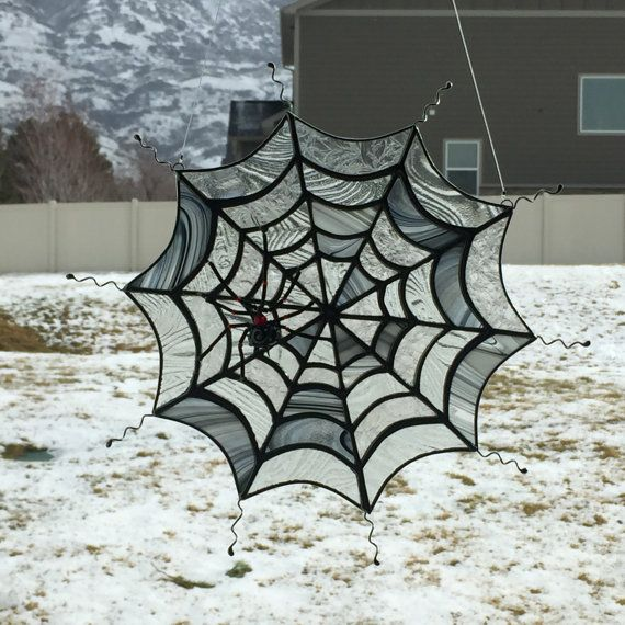 stained glass spider web suncatcher stain glass spider decoration halloween decor by foxstainedglass on