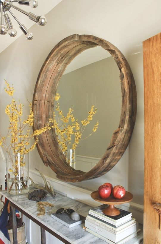 reclaimed re purposed wood barrel for mirror frame rusticcottage