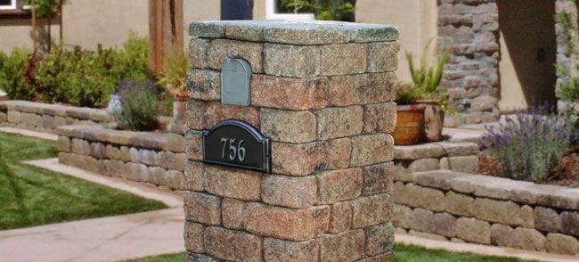 Mailbox Column Made From Patio Blocks