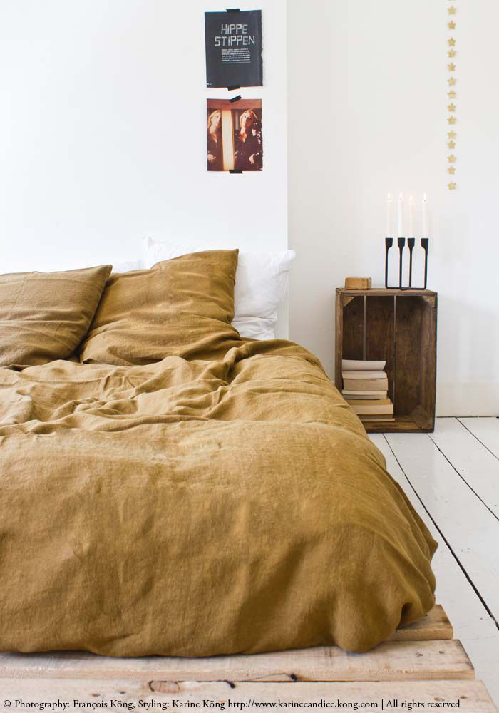 Linen duvet cover 240 x 220 cm - Curry — Bodie and Fou - Award-winning inspiring concept store