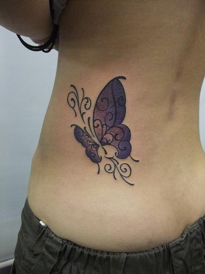 腰,蝶,バタフライ,カラーのタトゥーデザイン タトゥーナビ
