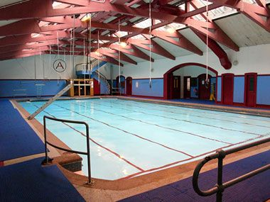 Head to the Arlington Baths in Glasgow for a pool with trapeze equipment and travelling rings above it as well as a Turkish Baths. What more could a Betty want?