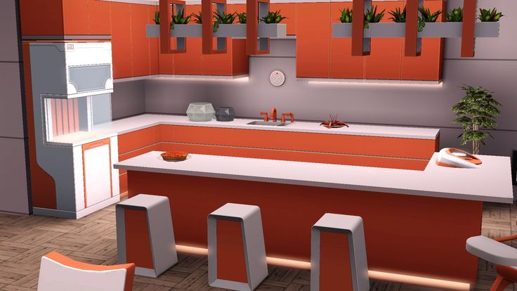 Fresh orange kitchen recolor the sims 3 into the future for Sims 3 kitchen designs