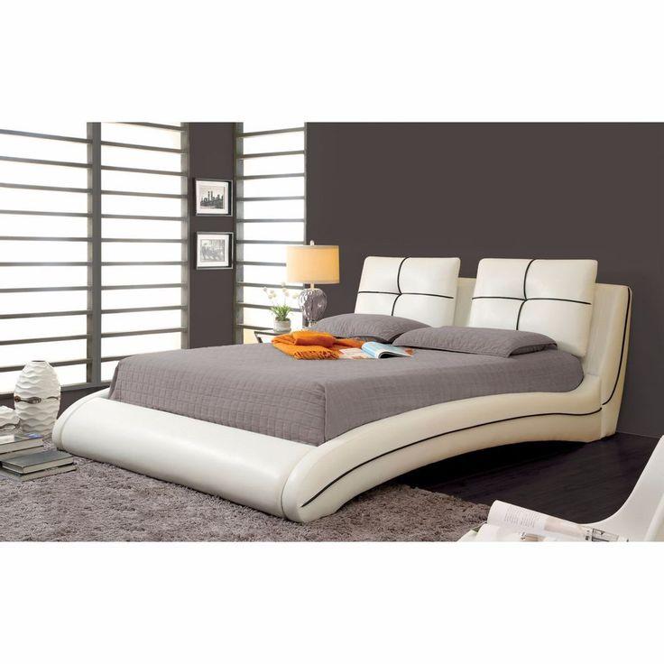 king size platform leather bed frame bedroom leatherette furniture modern