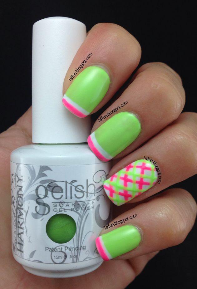 Summer Plaid Nail Art Design Using Gelish Colors Of Paradise Collection #limenails #gelish