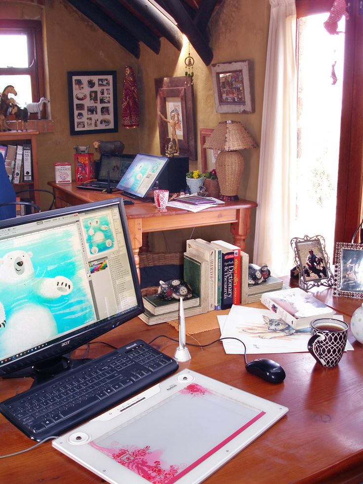 Chantelle and Burgens workspaces in their home studio.