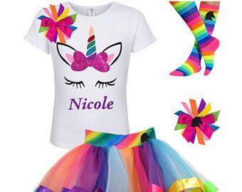 Rainbow Unicorn Horn Tutu Outfit Fairytale Birthday Magical Unicorn birthday Sparkle Unicorn Theme party Little Pony Shirt Custom Name