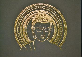 bouddha lotus: Peintures de Bouddha dans le temple thaïlandais.