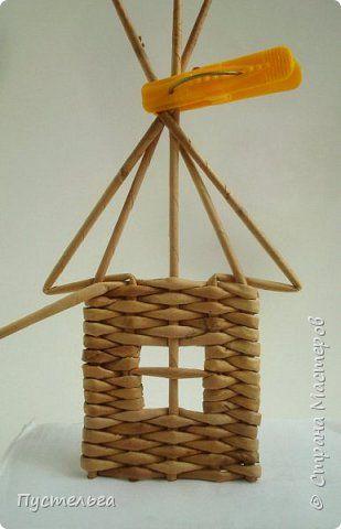 Мастер-класс Поделка изделие Плетение Домик и мельница Трубочки бумажные фото 11