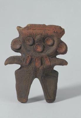 Figurine  (985)     Figurine. Japan, eastern Honshu. Final Jomon period (1000-400 BC). Earthenware. h 13.3 x w 11.1 x d 3.2 cm. Acquired 1989. Robert and Lisa Sainsbury Collection. UEA 985