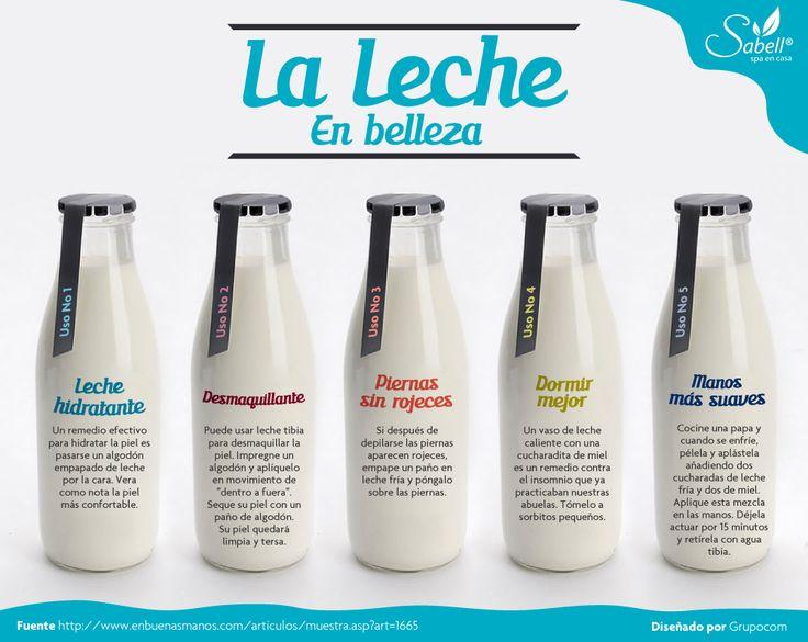 ¿Sabías de las aplicaciones de la leche en belleza? en la siguiente infografía encontrarás algunos tips interesantes para hacer tónicos, mascarillas, baños, etcetera.   #salud #belleza #tips #relajacion #spa #leche #nutricion