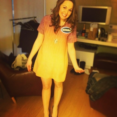 Giovanna Fletcher wearing Emma Louise London. Feather Ombre Shift Dress available to buy here: http://www.littleblackdress.co.uk/boutique/product-category/emma-louise/