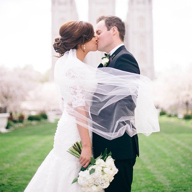"""""""We're so excited to takeover #WeddingWire's Instagram today! This classic portrait took place as cherry trees bloomed in Salt Lake City."""" -@allurebridals #WWxAllure #WW_Takeover {Photo by Shannon Elizabeth Photography}"""