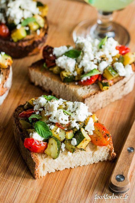 Tartines à la Fêta, aux Courgettes et Tomates Cerise - Food for Love