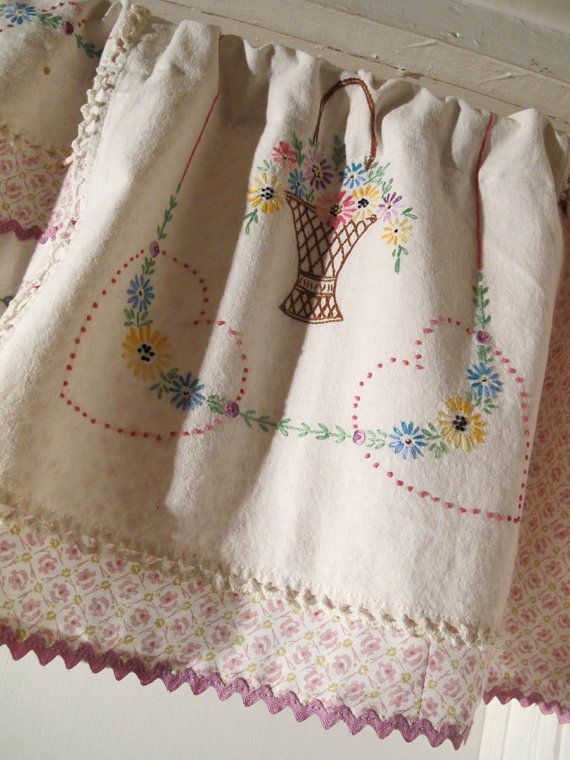Repurpose Vintage Linen Valance Upcycle Embroidery by BettyandBabs