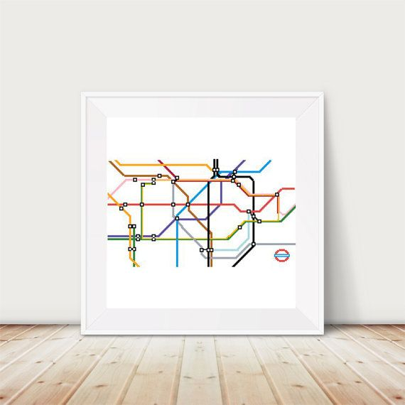 London Underground Tube Map Cross Stitch Pattern PDF DMC