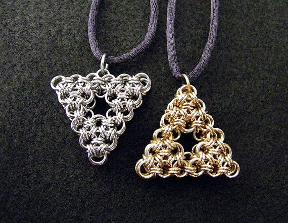 Legend of Zelda Chainmaille Triforce Pendant by ChainedBeauty