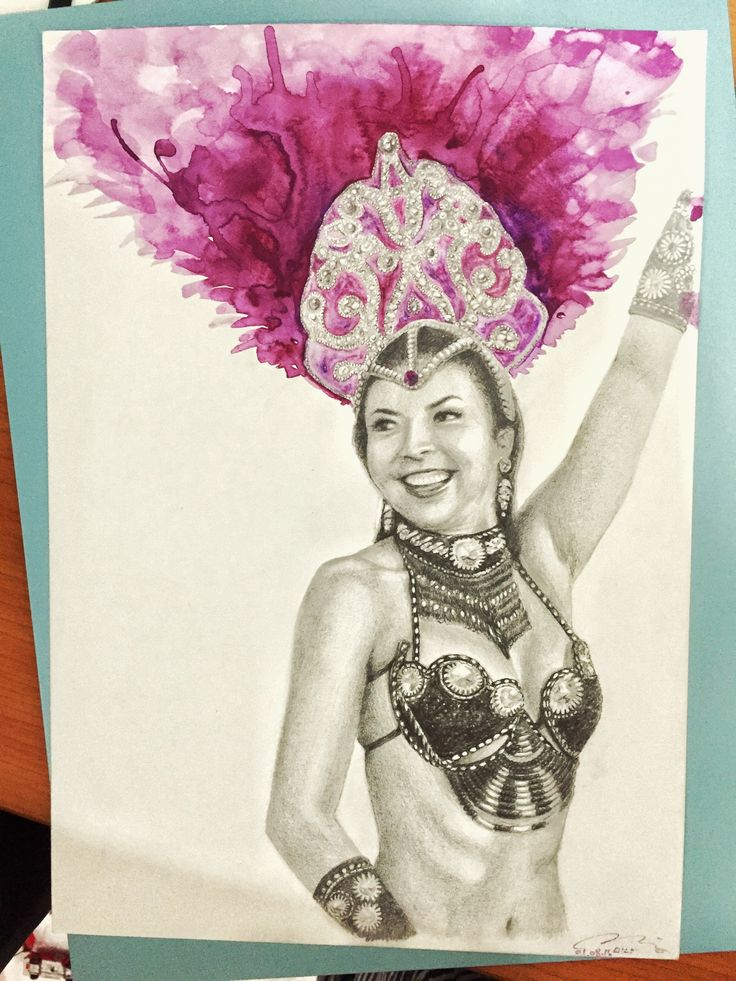 Samba dancer pencil drawing with colour by Mina Lee