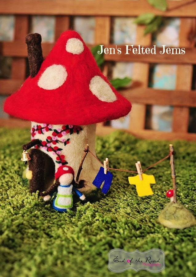Needle felted fairy/gnome home from Jen's Felted Jems  https://www.etsy.com/listing/179466247/delux-gnomefairy-toadstool-house-waldorf?ref=shop_home_active_1