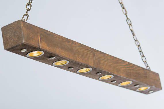 Iluminación rústica luz de madera reciclada haz de luz