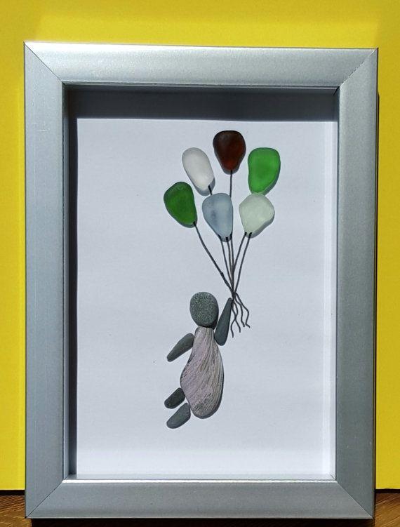 Nova Scotia Seaglass Art by SeaglassArtNS on Etsy Bunch Of Balloons 100% Genuine Nova Scotia Seaglass #pebbleart #novascotia #novascotiaart #art  #seaglass #beachglass