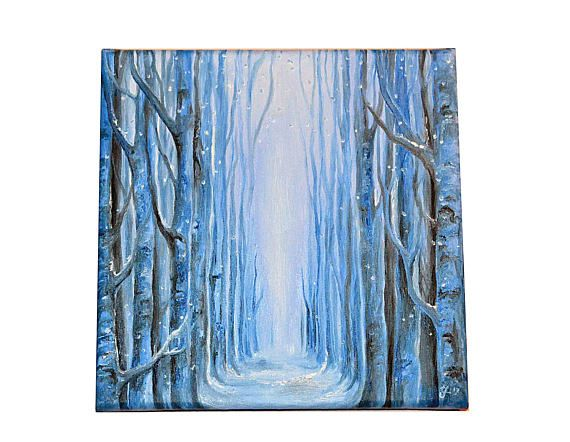 Winter  Original oil painting on canvas trees snow square