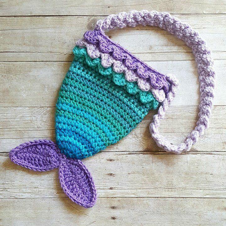 Crochet Mermaid Tail Purse Bag Toddler Girls Womens Accessory Handmade
