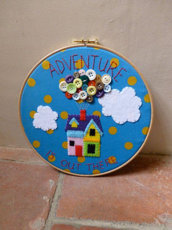 Disney Up Embroidery Hoop Art - Applique - Felt - Buttons - Pixar