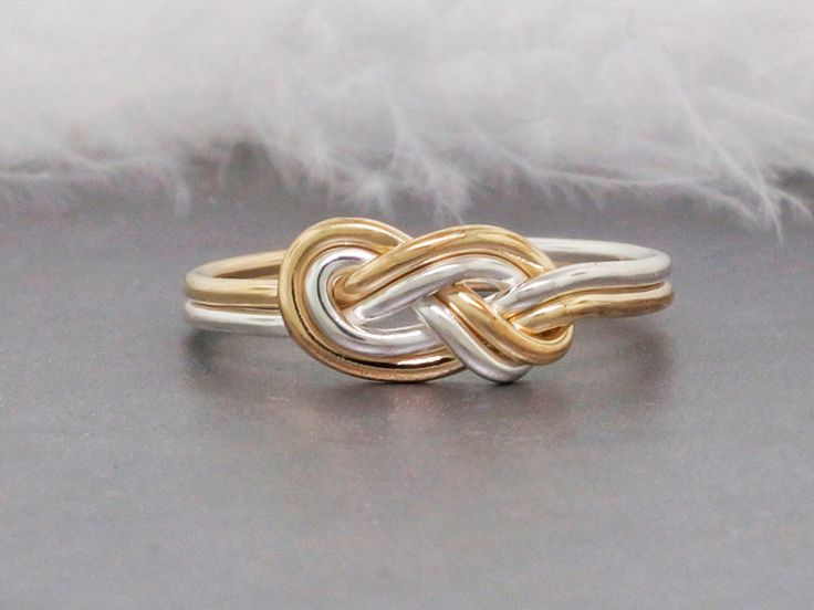 Unique Engagement Ring • 14k Gold and Sterling Silver Knot Ring • Double Knot