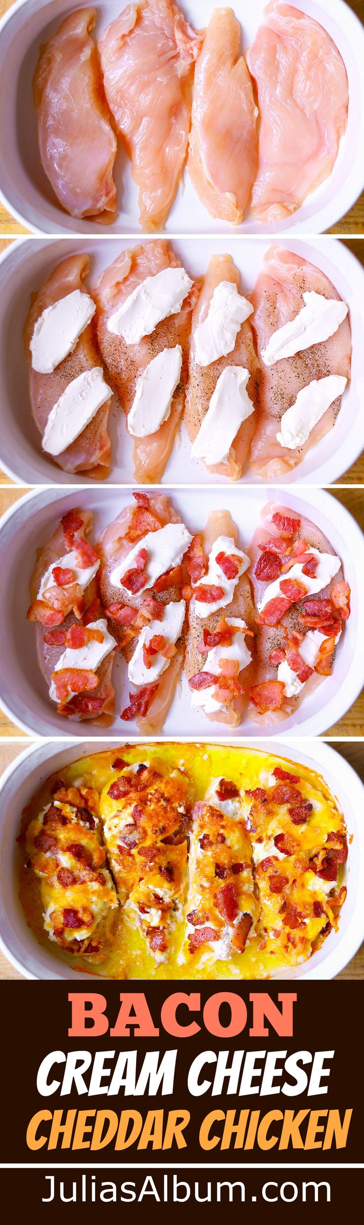 Bacon, Cream Cheese, Cheddar Chicken Bake Recipe.