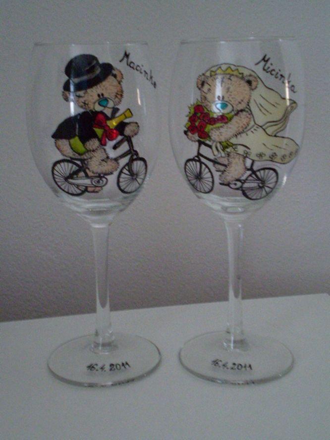 Mia . Exclusive hand-painted wedding cups by Juliana Hamajdak. www.malovaneumenie.sk