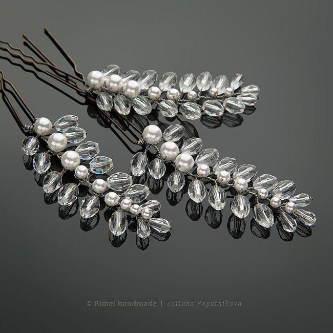Свадебные шпильки «Luna» хрустальные шпильки-веточки с жемчугом майорика