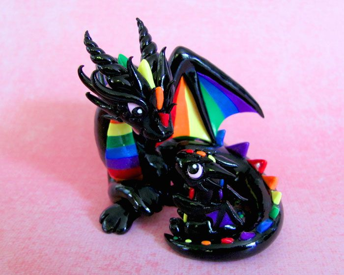 Mama and baby rainbow dragons by DragonsAndBeasties.deviantart.com on @deviantART