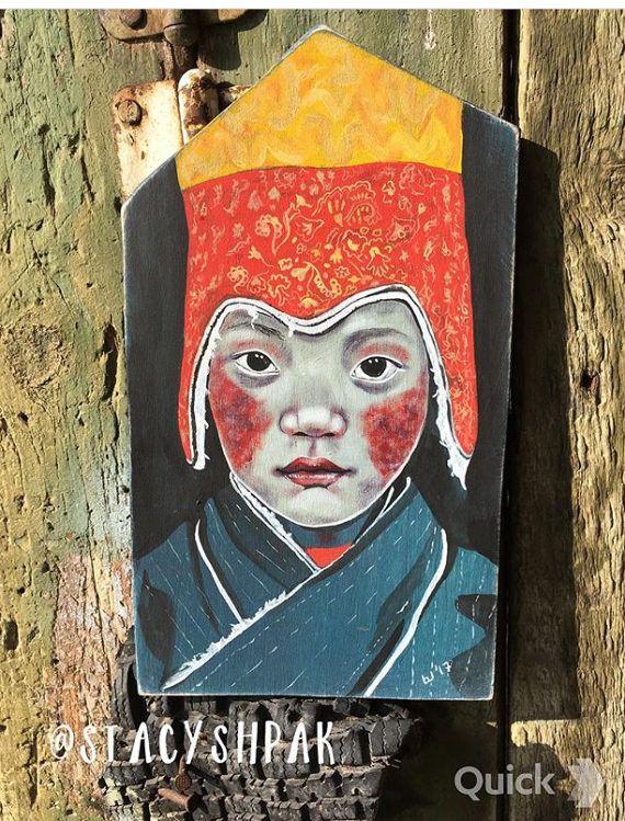 Stacy Shpak Original Tibetan boy portrait painting от Stacyshpak