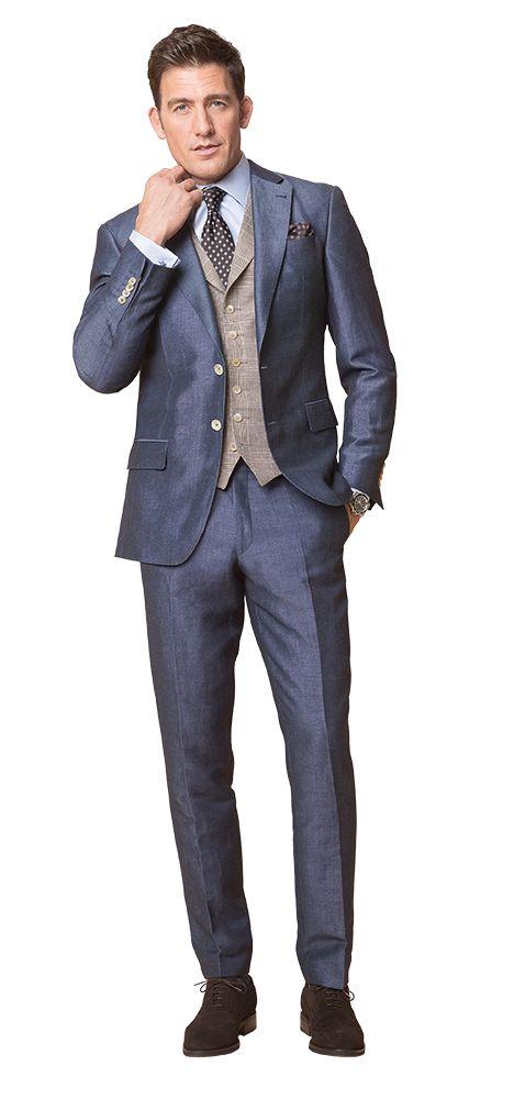 DOLZER Herren Anzug Blauer Leinenanzug mit leichtem Glanz und Kontrastweste Business