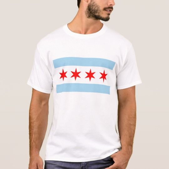 T Shirt with Flag of Chicago, USA