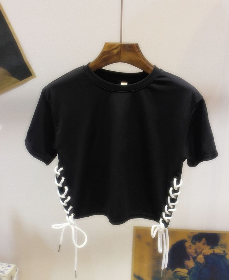FSJ Unif Straps Design Short Design Crop Cotton T shirts Women's Solid Color Short sleeve Punk Gothic Rock Tee Tops Camisas-inT-Shirts from Women's Clothing
