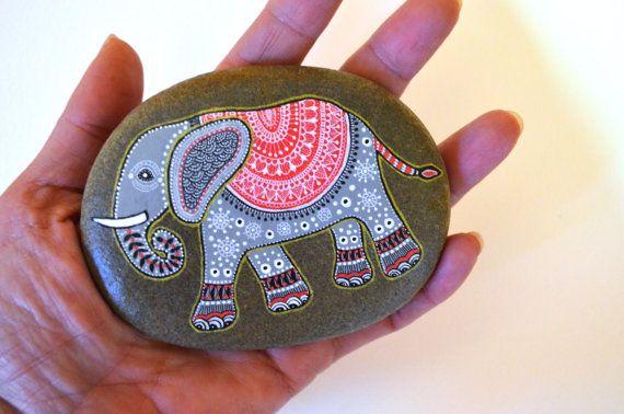 Hand Painted Stone Elephant by ISassiDellAdriatico on Etsy