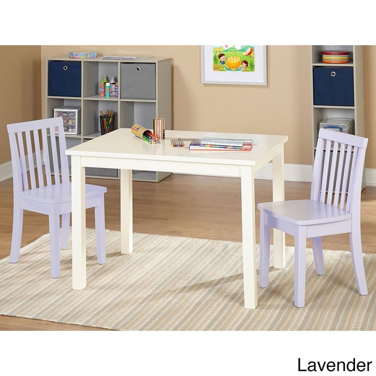Simple Living 3-piece Alice Kids Table and Chair Set (3p Alice Kids Set, 2 lavender (Purple) chairs)