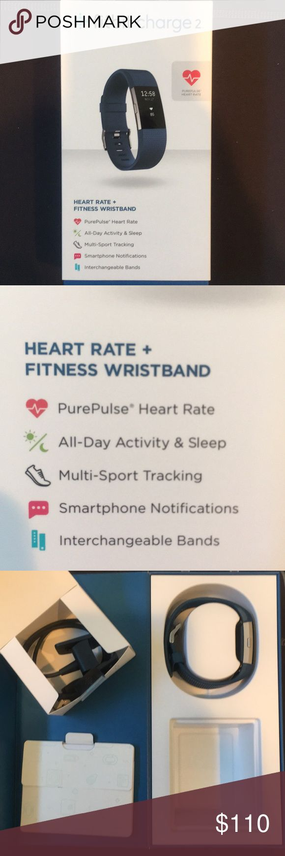 Fitbit Charge 2 (heart rate + fitness wristband) Used for about 5 months. It has the heart rate monitor built in. Comes with all original box, charger and material. fitbit Other