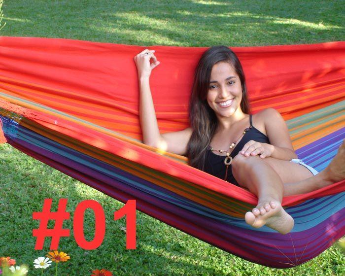An ideal hammock for the corner of a room or balcony. The Rainbow Hammock XL Short colour #1, Marañon World of Hammocks