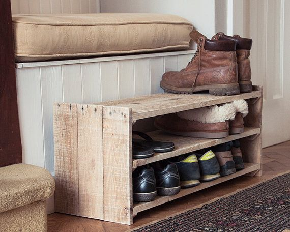 Wooden shoe rack handmade with reclaimed pallets and sanded to a super smooth finish. This is the perfect size for those short on space. 3 shelves means you can fit 9 pairs of adult shoes, or more if youve got little ones!  Available in unfinished, a clear matt varnish or a dark wood