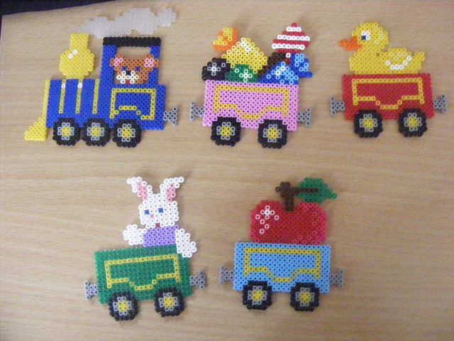 I know these are beads but they are also a great inspiration to cross stitch patterns :) This would be too cute for a kid's bedroom