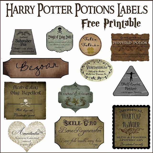 Halloween Decor: Harry Potter Potion Bottles {free printable} click this link here: http://overthebigmoon.blogspot.com/2011/09/halloween-decor-harry-potter-potion.html